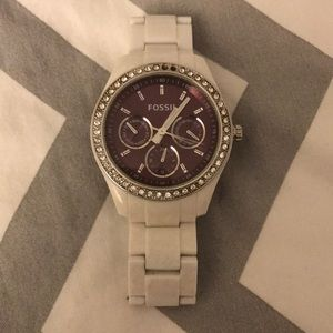 Fossil watch white with rhinestones